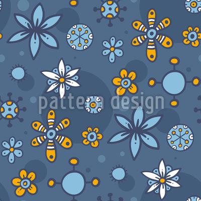 Doodle Blumen und Punkte Nahtloses Vektor Muster