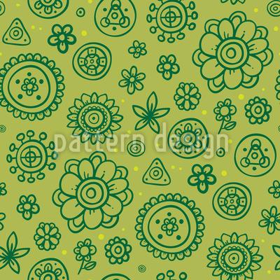 Lovely Fantasy Flowers Vector Pattern