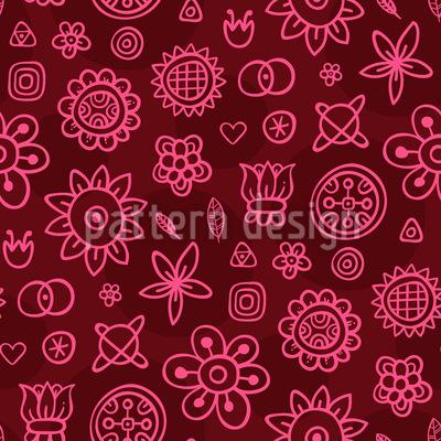 Nette Fantasie Blumen Vektor Ornament