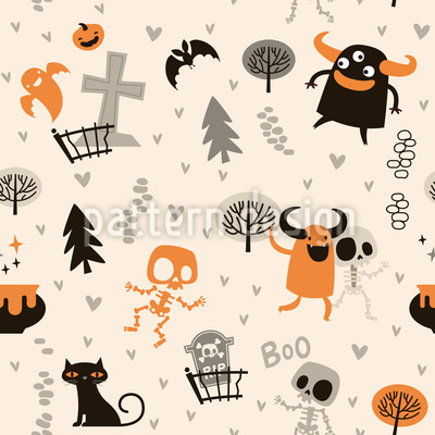 Skeletons and Monsters Seamless Vector Pattern