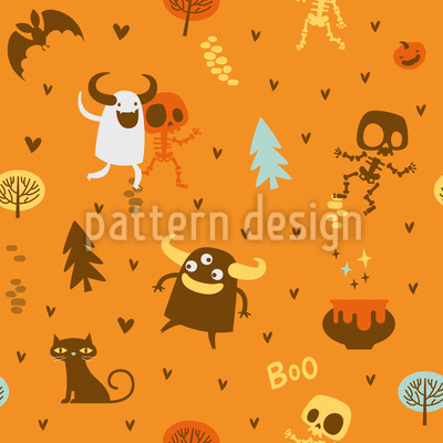 Skeleton and Monster Friends Vector Pattern