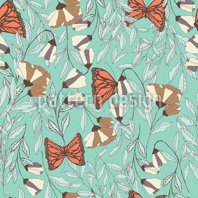 Schmetterlings-Blumen-Wiese Vektor Ornament