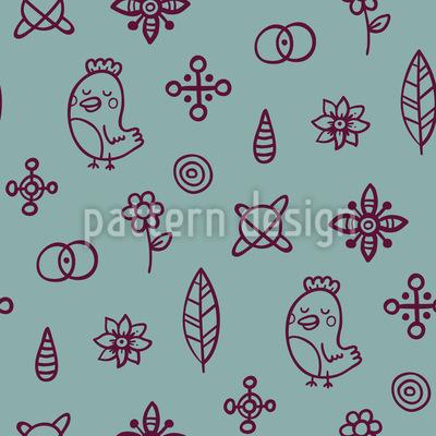 Vögel vernarrt in Blumen Musterdesign