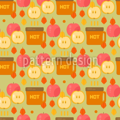 Coffee and Apples Repeating Pattern