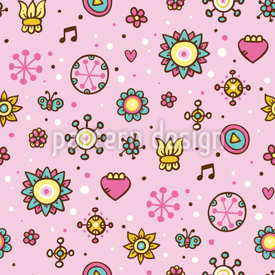 Girls Garden Dream Seamless Pattern