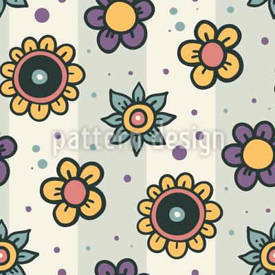 Florale Doodles Auf Streifen Nahtloses Muster