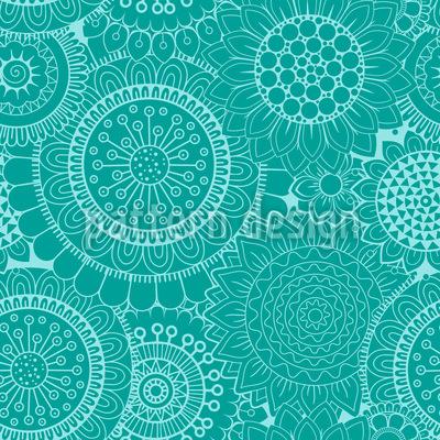 Mosaik Flower Power Seamless Vector Pattern