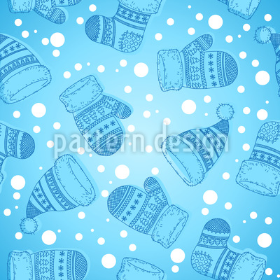 Winter Socks and Hats Repeating Pattern