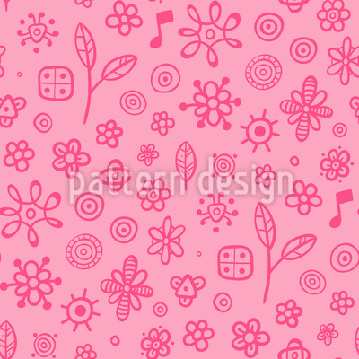 Girlish Flowers and Music Notes Seamless Pattern