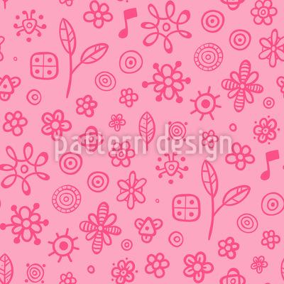 Mädchenhafte Blumen und Musiknoten Nahtloses Muster