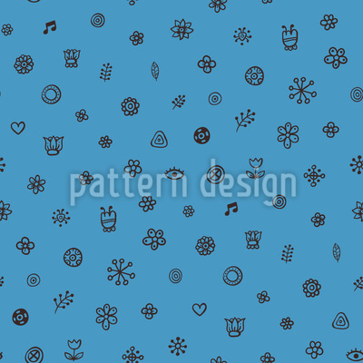 Cute Flowers And Symbols Design Pattern