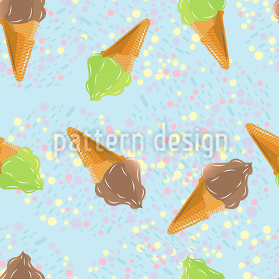Ice Cream And Dots Vector Pattern