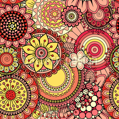 Bright Abstract Flowers Seamless Pattern
