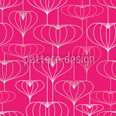 Lampionherzen Pink Vektor Muster