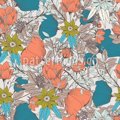 Vintage Blumenwiese Nahtloses Vektor Muster