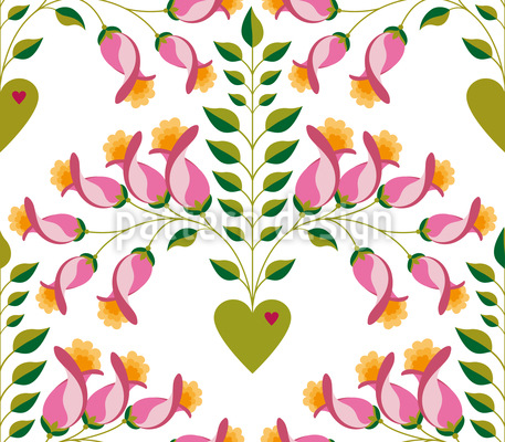 Cute Delicate Floral Heart Vector Pattern