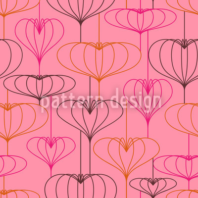 Heart Lantern Pink Repeating Pattern