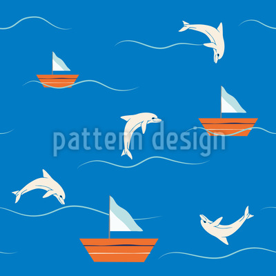 Dolphins and Sailing Repeat Pattern