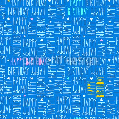 Happy Birthday Schriftzug Nahtloses Vektor Muster
