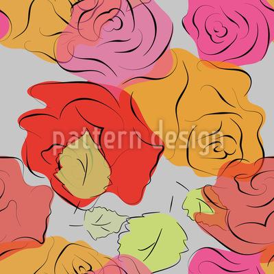 Handgezeichnete Rosen Musterdesign