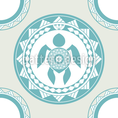 Maori Turtle Seamless Vector Pattern