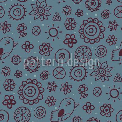 Blumen und Vögel Muster Design