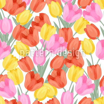 Radiant Tulips Seamless Vector Pattern