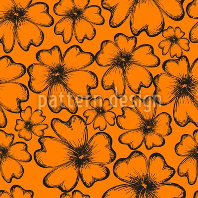 Sunny Flower Silhouettes Seamless Vector Pattern