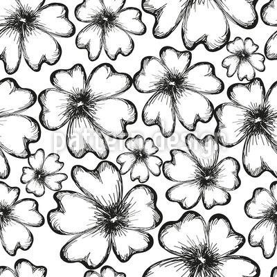 Monochrome Blumensilhouetten Vektor Ornament
