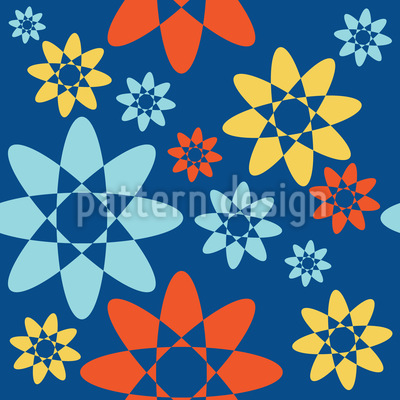 Endless Abstract Blossoms Seamless Vector Pattern