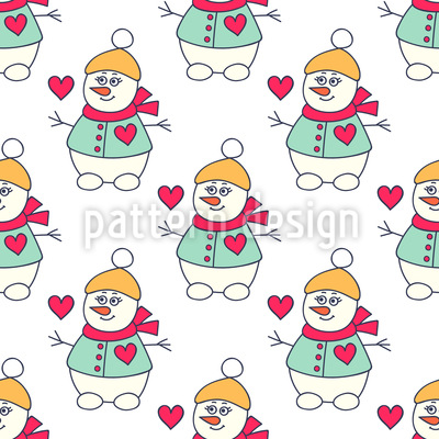Lovely Snowman Repeating Pattern
