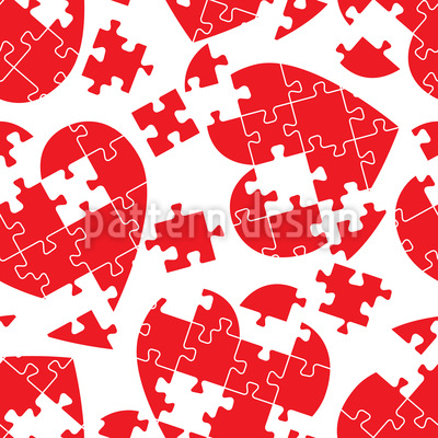 Heart Puzzle Seamless Pattern