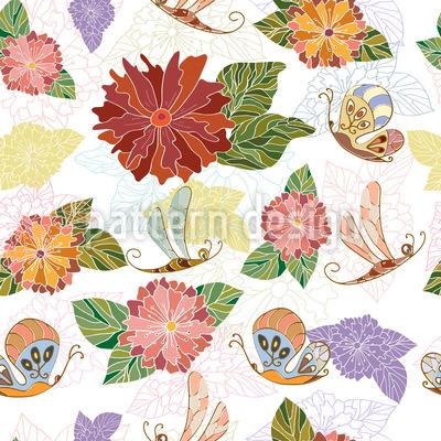 Feldblumen und Schmetterlinge Nahtloses Vektor Muster