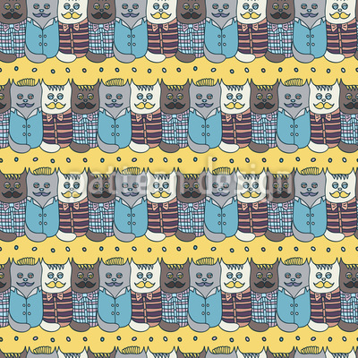 Funny Hipster Cats  Seamless Vector Pattern