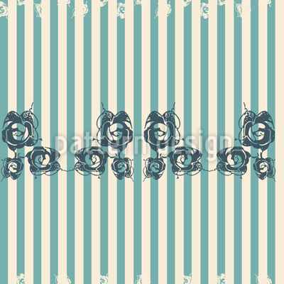 Lace of Roses on Stripes Seamless Vector Pattern