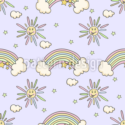 Rainbow Clouds Seamless Pattern