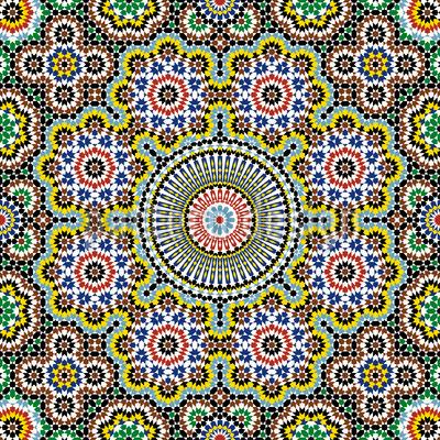 Marokkanisches Mosaic Nahtloses Vektor Muster