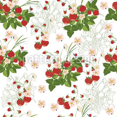 Überall Erdbeeren  Vektor Ornament