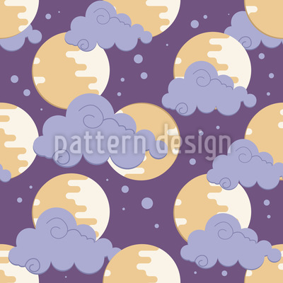 Moon In Clouds Pattern Design
