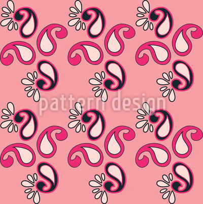 Fancy Paisley Pink Seamless Vector Pattern