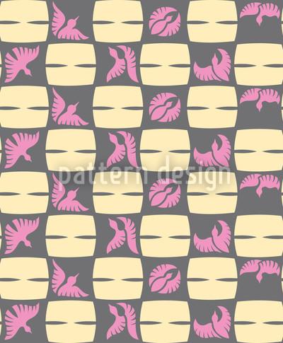 Stilisiertes Vogelkaro Musterdesign