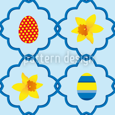 Easter Daffodils Blue Vector Design