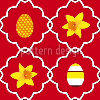 Narzissen Zu Ostern Rot Rapportiertes Design