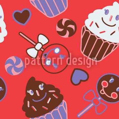Happy Desserts Red Pattern Design