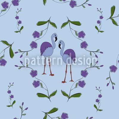 Flamingos Unter Blüten Designmuster