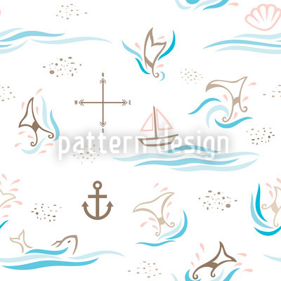 Whale Watching Vector Pattern
