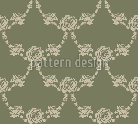 English Roses Green Vector Ornament