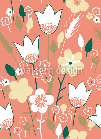 Meadow In Apricot Vector Ornament
