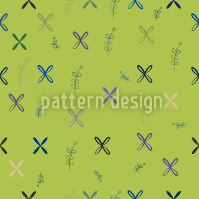 Resis Mural Painting Green Repeating Pattern
