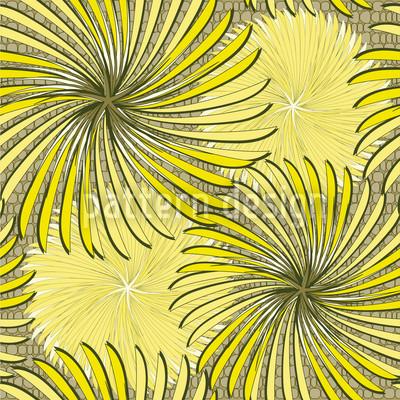 Radschlagen In Gelb Rapportiertes Design
